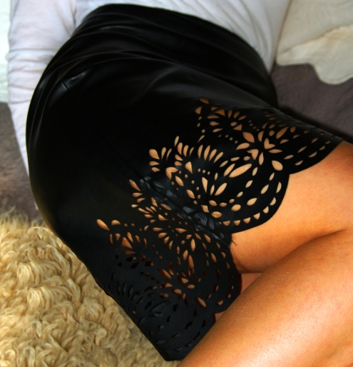 lazer cut leather skirt reduced