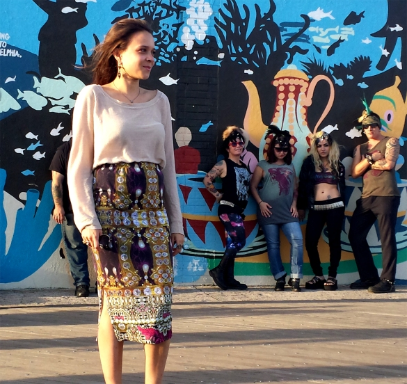 Coney Island Baroque Print Skirt