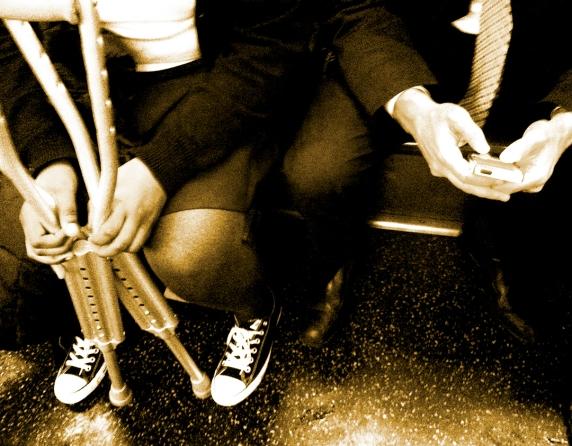 crutches sepia