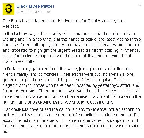 BLM response to Dallas Shooting