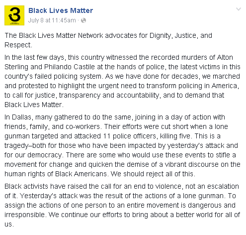BLM response to Dallas Shooting
